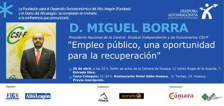 """Conferencia día 20 de abril D. Miguel Borra: """"Empleo público, una oportunidad para la recuperación"""".,,"""