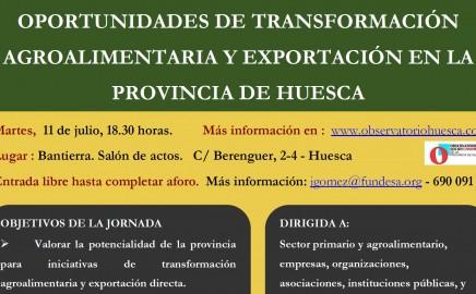 JORMADA: OPORTUNIDADES DE TRANSFORMACIÓN AGROALIMENTARIA Y EXPORTACIÓN EN LA PROVINCIA DE HUESCA