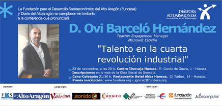 """Conferencia día 23 de noviembre D. Ovi Barceló Hernández: """"Talento en la cuarta revolución industrial""""."""